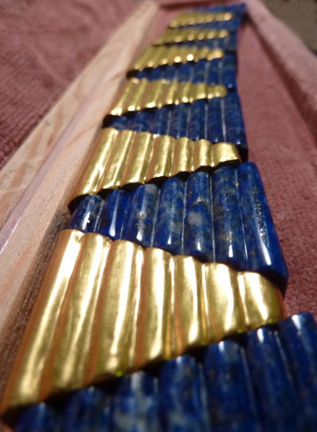 The finished Gold Sumerian necklace in its box. (Photo and caption courtesy of Andy Lowings)